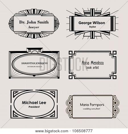 Beautiful blank frames for business cards, monograms, in Art Nouveau, modern style