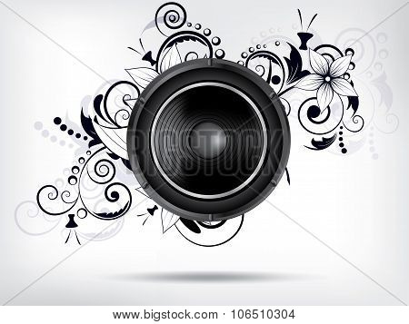 Abstract bckground with subwoofer and floral elements