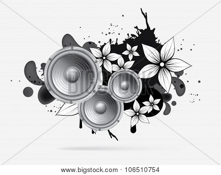 abstract music background with subwoofer. Abstract vector illustration with background.