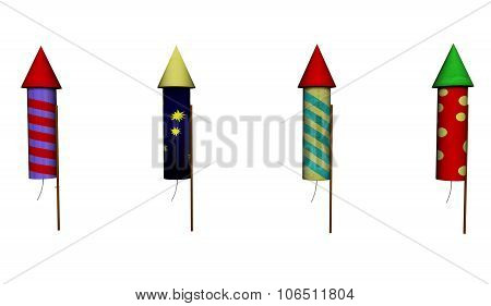 Illustration of Four Fireworks Rockets isolated on White Background