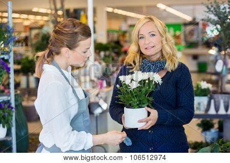 Portrait of female customer being assisted by salesgirl in buying flower plants at store