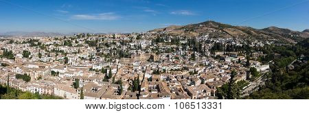 Panoramic View Of Granada City In Spain