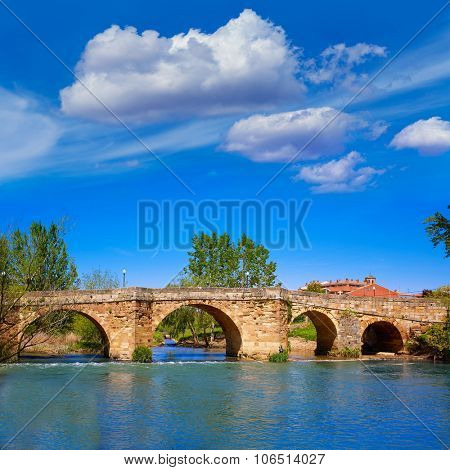 Sahagun river Cea bridge middle center of Saint James Way in Leon Spain