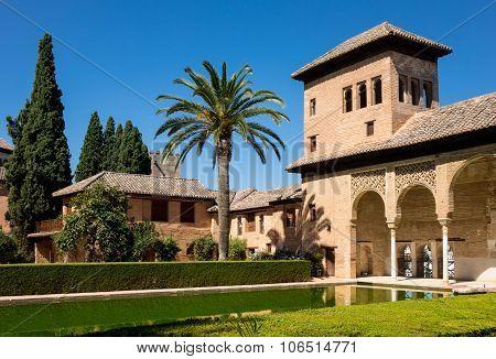 View Of Partal In Alhambra In Granada  In Spain