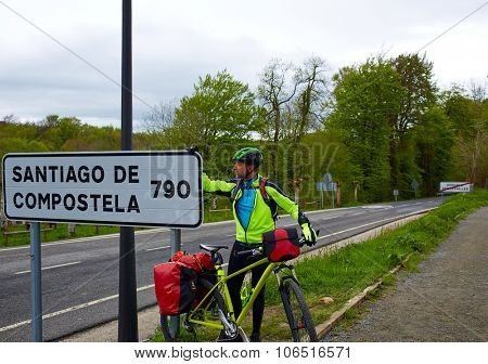 Roncesvalles begin of Way of Sain James biking sign of 790 km to Santiago