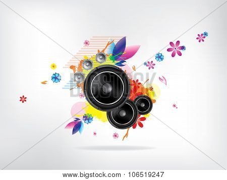 Abstract musical background with floral elements. Abstract vector illustration with background.