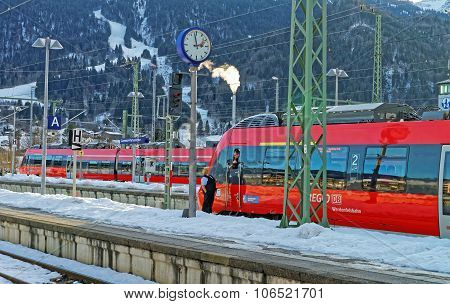 View Of The Train Driver Awaiting Departure At Garmisch-partenkirchen Train Station