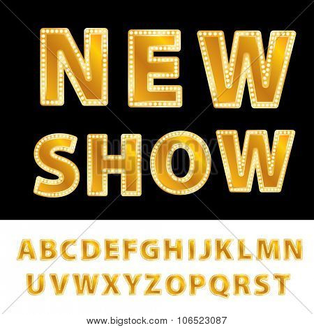 vector golden entertainment or casino letters with bulb lamps