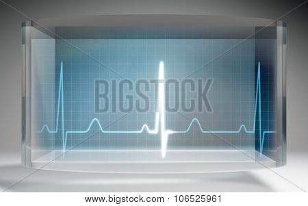Futuristic Ekg Medical Liquid Crystal Display Blue