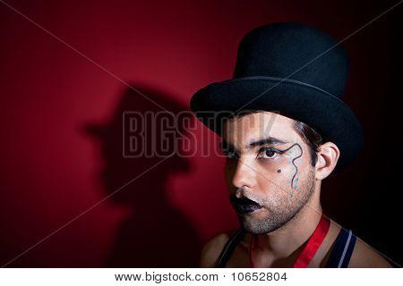 Makeup On Man In Top Hat