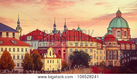 Sunset roof house old city autumn prague czech republic. Illustration