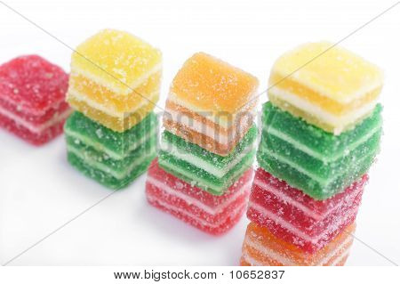 Colorful marmalade candies isolated on white background