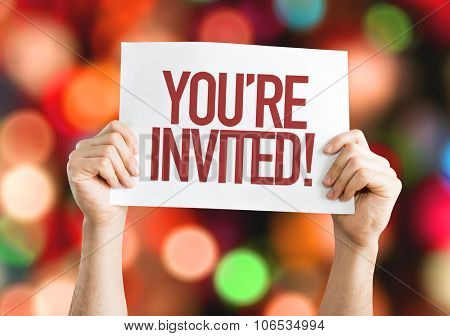 You're Invited! placard with bokeh background