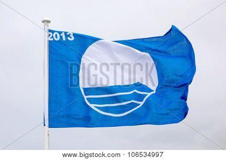 Waving Blue Flag