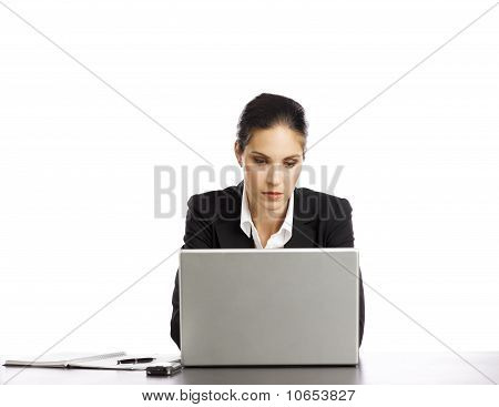 Young Businesswoman Depressed Looking At Laptop 2
