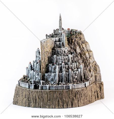 Zagreb, Croatia - January 23: Lord Of The Rings Figurine Showing The White City, Minas Tirith Shot I