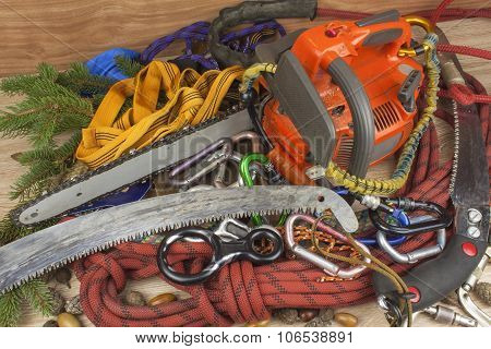 Tools for trimming trees, utility arborists. Chainsaw, rope and carabiners to work lumberjack