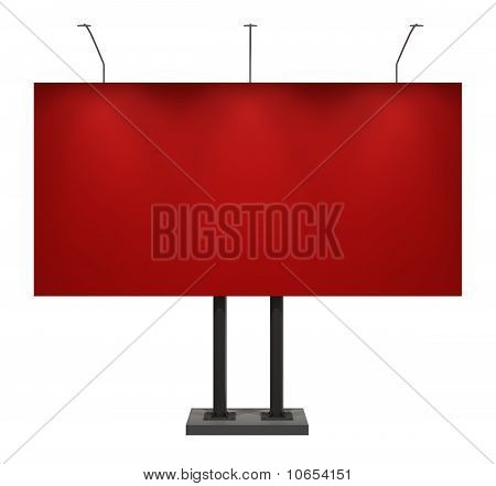 Billboard, Red, Isolated on White with Clipping Path