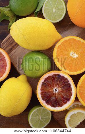 Orange, Lemon And Lime Citrus Fruit