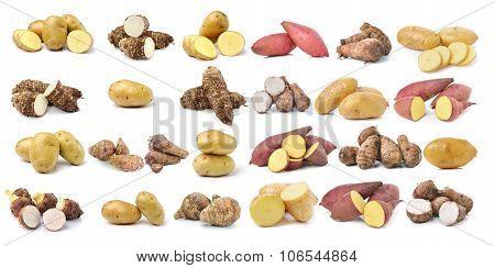 Sweet Potato, Potato, Taro Root  On The White Background