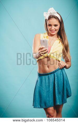 Retro Girl With Smartphone Taking Selfie