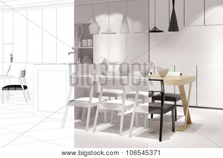 Planning open dining room with eat-in-kitchen with CAD and 3D Rendering