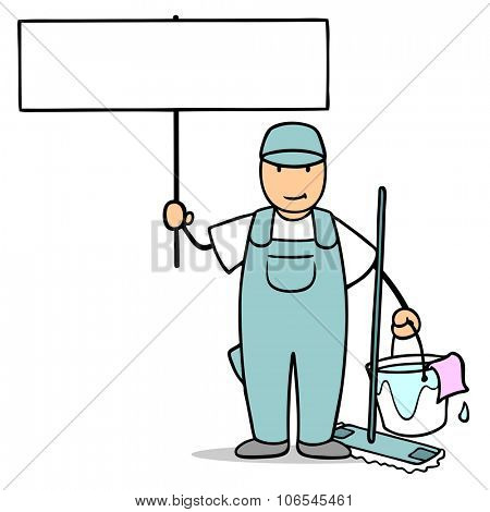 Man from cleaning service holding up sign