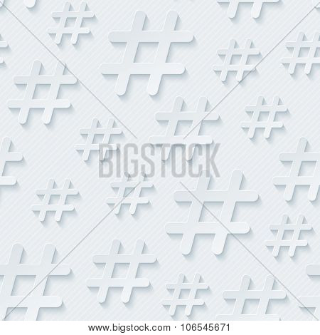 Hash tag seamless 3d pattern. Vector EPS10.