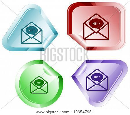open mail with chat. Raster sticker.