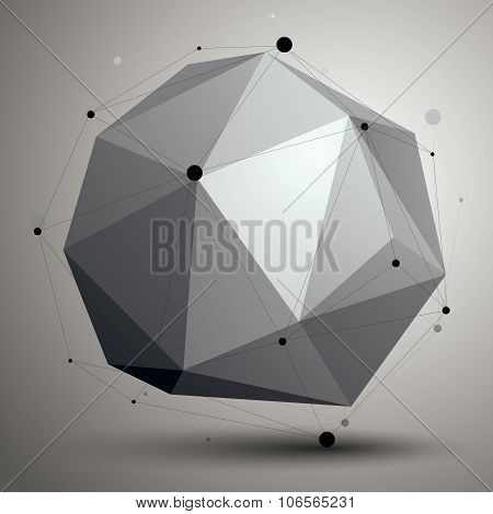 Abstract asymmetric vector monochrome object with black lines mesh complicated geometric shape. poster