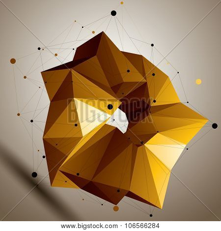 Asymmetric 3D Abstract Bright Object, Colorful Geometric Spatial Form. Render And Modeling.