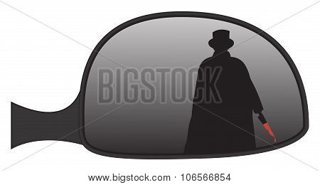 Jack The Ripper In Car Side Mirror