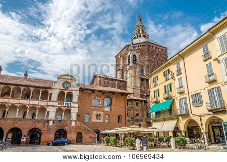 View At The Cathedral From Piazza Della Vittoria Of Pavia