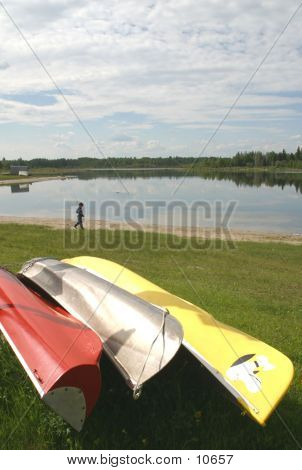 Canoes At Lake