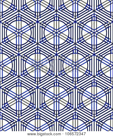 Seamless Optical Ornamental Pattern With Three-dimensional Geometric Figures. Intertwine Colored Eps