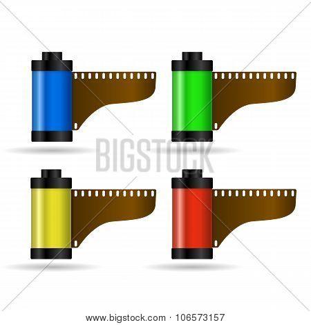 Realistic Cartridge film colors vector illustration