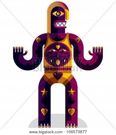 Graphic Vector Illustration Of Weird Beast, Anthropomorphic Character Isolated On White, Decorative