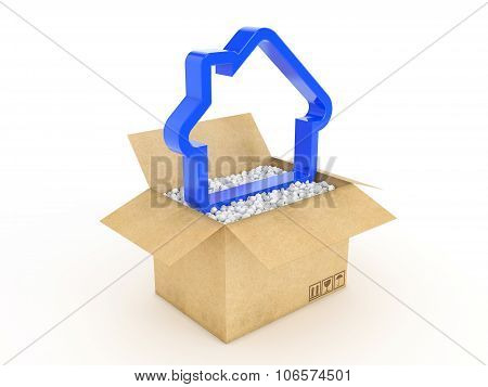 3d house shape icon in cardboard box