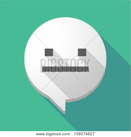 Long Shadow Comic Balloon With A Emotionless Text Face
