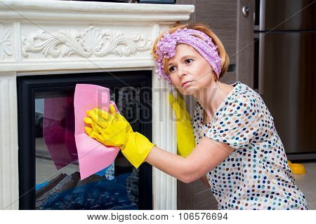 Tired Housewife Washes Fireplace