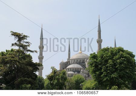 Sultan Ahmed mosque,Istanbul,Turkey. Spring time in the city poster