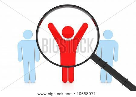 Correct People Search. 3D Rendering. Isolated white background. poster