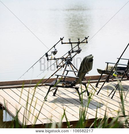 Fishing Tackle On Pier