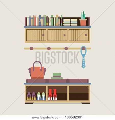 Cabinet Seat With Wall Cabinet Vector Illustration. EPS 10 poster