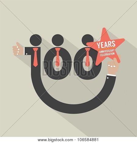 100 Years Anniversary Typography Design.