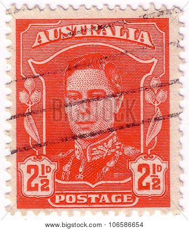 Australia - Circa 1942: A Stamp Printed In Australia Shows Portrait Of King George Vi, Without Inscr