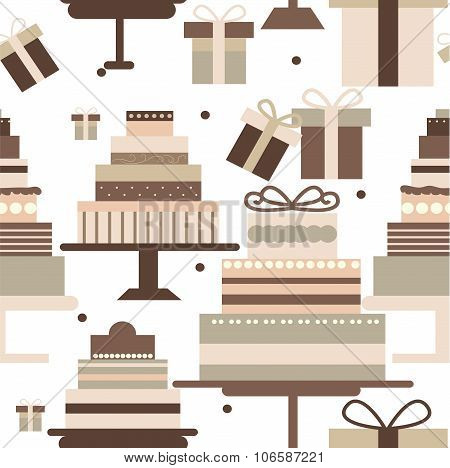 Seamless Ornament In Gentle, Vanilla Tones Composed Of Multi-tiered Chocolate Cake And Peas