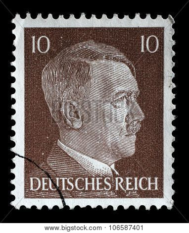 GERMAN REICH - CIRCA 1942: A stamp printed in Germany shows the image of Adolf Hitler, series 1942