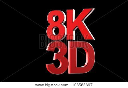 Full Ultra Hd 8K 3D Logo Isolated With Black