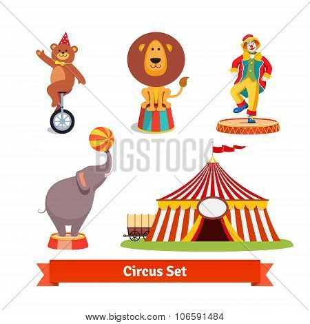 Circus animals, bear, lion, elephant, clown